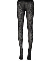 sheer greca print tights black