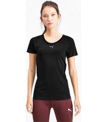 naadloos evoknit t-shirt met korte mouwen voor dames, zwart, maat xs | puma