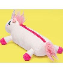 050401439 estojo pelucia puket unicornio branco