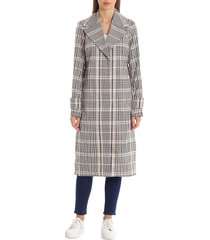avec les filles women's menswear plaid-printed trench coat - yellow multi - size xs