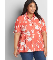 lane bryant women's button-front extreme high-low peplum top 14 coral and white floral