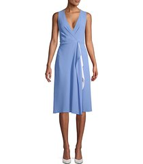 drape faux wrap knee-length dress