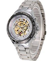 reloj mecánico automático hueco de acero de moda-blanco