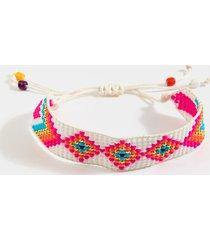 women's jacey beaded pull-thread bracelet in fusha by francesca's - size: one size