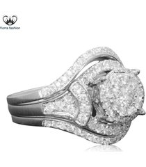 1.25 ct diamond women's engagement ring set in 10k white gold plated 925 silver