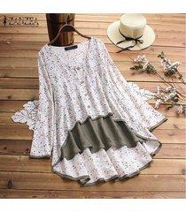 zanzea playa de las mujeres tapas florales flojo señoras de la blusa de manga larga de la camiseta del tamaño extra grande -blanco