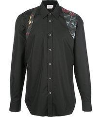 alexander mcqueen floral strap button-up shirt - black
