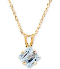 """aquamarine (1/2 ct. t.w.) 18"""" pendant necklace in 14k gold"""