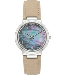anne klein women's solar tan apple peel vegan leather strap watch 34mm