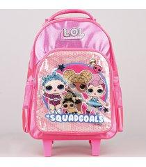 mochila escolar infantil com rodinhas lol surprise rosa