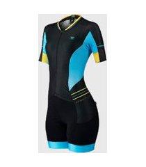 macaquinho free force ciclismo feminino new heaven preto azul
