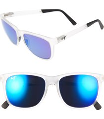 men's maui jim tail slide 53mm polarized sunglasses - frosted crystal
