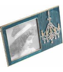 porta-retrato de metal decorativo lustre clássico com strass