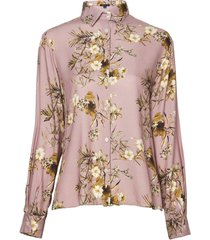 camisa dudalina manga longa pregas costas estampa floral feminina (estampado floral, 44)