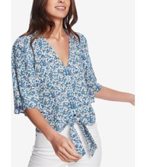 1.state flounce-sleeve floral top