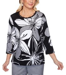 alfred dunner women's missy checkmate exploded floral with check top