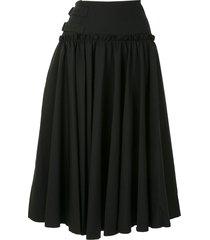 yohji yamamoto side-buckle skater skirt - black