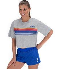 blusa cropped fila summer - feminina - mescla