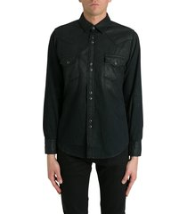 saint laurent weter shirt in coated denim