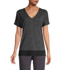 donna karan sleepwear women's animal-print top - charcoal - size s