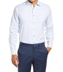 men's big & tall nordstrom trim fit non-iron plaid stretch dress shirt, size 16.5 - 36/37 - blue