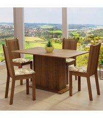 conjunto sala de jantar madesa luana mesa tampo de madeira com 4 cadeiras - rustic/lãrio bege marrom - marrom - dafiti