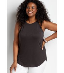 maurices plus size womens 24/7 gold high neck tank top gray