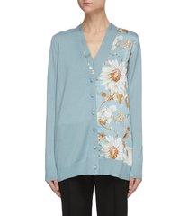 floral panel v-neck knit cardigan