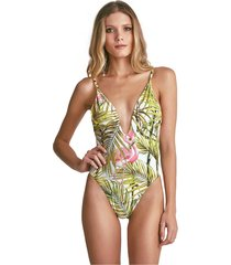 body empress brasil meghan estampa flamingo verde/rosa