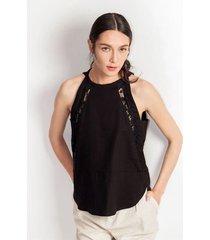 blusa para mujer en lino negro color-negro-talla-xl