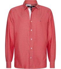 camisa th flex con tejido bicolor rojo tommy hilfiger