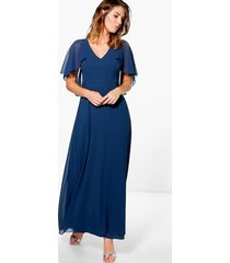 chiffon cape sleeve maxi bridesmaid dress, navy