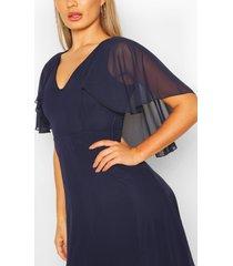 chiffon cape sleeve maxi bridesmaid dress, navy