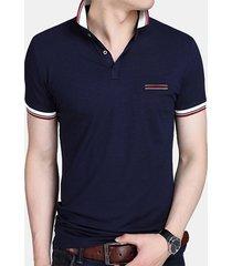 camicia da golf casual da uomo in cotone traspirante da uomo slim fit in cotone tinta unita