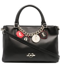 love moschino faux-leather love charm tote - black