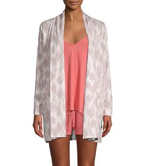 abstract-print open-front cardigan