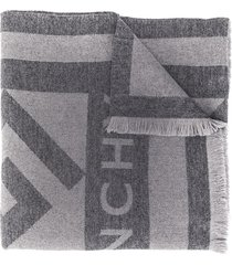 givenchy intarsia logo winter scarf - grey