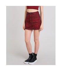 saia de sarja feminina estampada animal print com bolsos vermelha