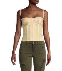danielle bernstein women's striped underwire corset crop top - yellow - size 00