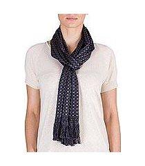 cotton scarf, 'labyrinth' (guatemala)