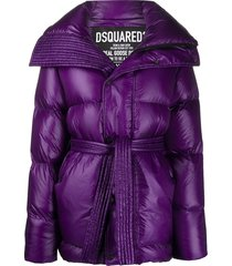 dsquared2 high-shine tie-waist quilted down coat - purple