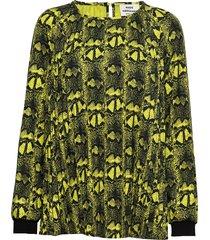 snake plisse borelly blouse lange mouwen geel mads nørgaard