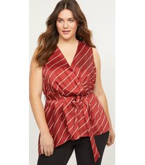 lane bryant women's asymmetrical faux-wrap shell with belt 16 rust and cream rope print