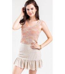 portland ruffle mini skirt - natural