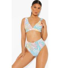 korte mintgroene palm print bikini top met laag decolleté, mint