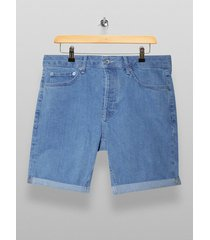 mens blue bleach denim skinny shorts