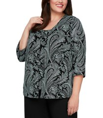 alex evenings plus size printed shell & jacket