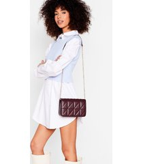 womens pu quilted crossbody bag - dark red