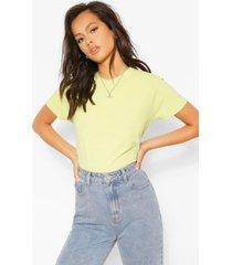 basic gebleekt t-shirt, chartreuse
