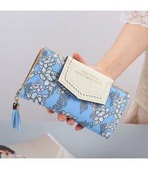 billetera mujeres- cremallera de la borla de la cartera-azul